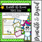 Riddle the Room: Equal Shares TEKS 3.6e