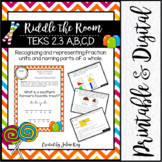 Riddle the Room: Partitioning Fractions: 2nd Grade Math TEKS:  2.3 A, B, C, D