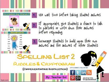 Riddles & Cryptogram (Spelling List #2) RF 4.3
