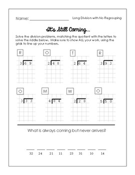 Riddles! - Long Division (with GRIDS!) math FREEBIE