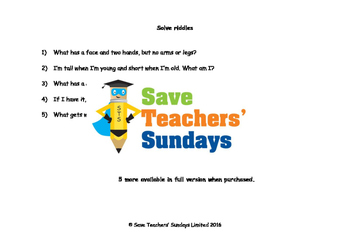 Riddles Worksheets (Just riddles, Extra clues and Choice of Answers)