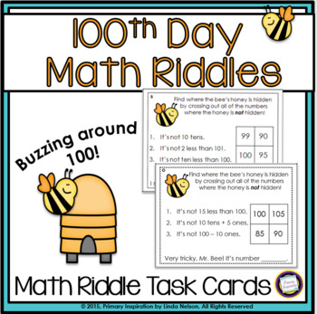 Two-Digit Numbers Math Logic Task Cards 100th Day