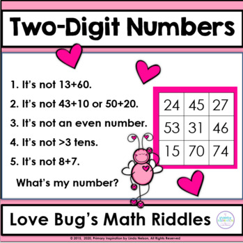 Valentine Math Riddle Task Cards for Two-Digit Numbers
