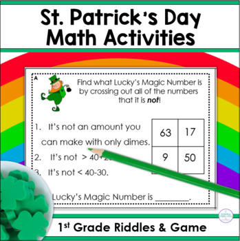 St. Patrick's Day Math Riddle Task Cards for Two-Digit Numbers