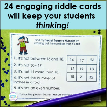 Number Logic Riddles for Two-Digit Numbers ~ Pirate's Secret Treasure Numbers