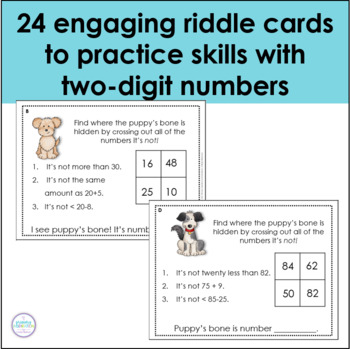 Riddles for Two-Digit Numbers ~ Puppy's Missing Bones