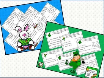 Two-Digit Numbers Math Logic Task Cards Spring Bundle