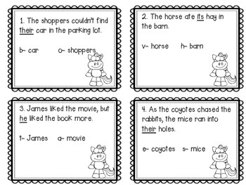Pronouns and their Antecedent: Riddling Task Cards