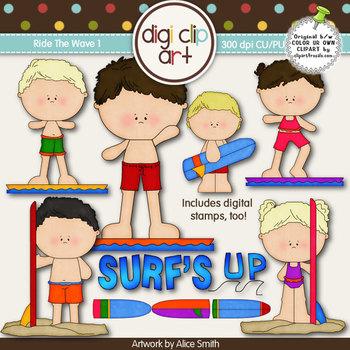 Ride The Wave 1-  Digi Clip Art/Digital Stamps - CU Clip Art