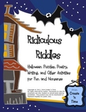 Ridiculous Riddles Halloween Puzzles, Poetry, Writing Task Cards 89-pg