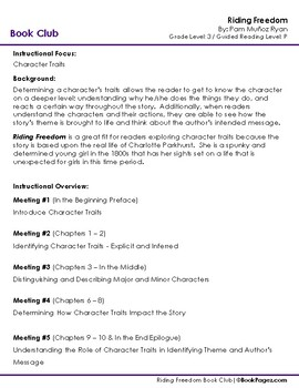 Riding Freedom Lesson Plan  (Book Club Format - Character Traits) (CCSS)