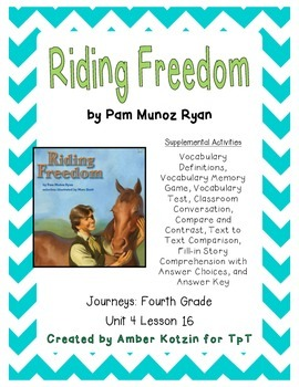 Riding Freedom Supplemental Activities 4th Grade Journeys Unit 4, Lesson 16