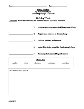 Journeys Common Core 4th - Riding Freedom Supplemental Packet for the SLP
