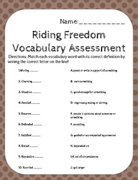 Riding Freedom Unit 4 Vocabulary Assessment