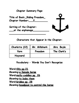 Riding Freedom by Pam Munoz - Chapter Summary Page - Teacher Edition