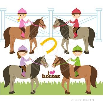 Riding Horses Cute Digital Clipart, Horse Clip Art