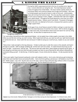 Riding the Rails - Great Depression Hoboes Primary Source Stations Activity