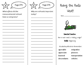 Riding the Rails West Trifold - Wonders 3rd Grade Unit 3 Week 5