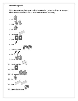 Articoli di cancelleria (School Supplies in Italian) Worksheet