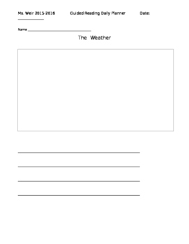 Rigby Level 2 Guided Reading lesson plan: Out in the Weather