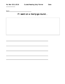 Rigby Level 3 Guided Reading lesson plan: The Merry Go Round