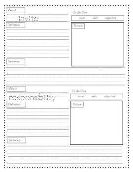 Rigby Literacy By Design Vocabulary Journal (Theme 1-5)