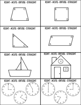 Right, Acute, Obtuse and Straight Angles Grab & Go Flash Cards