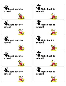 Right Back to School Labels