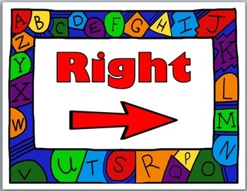 Positional Words - Right & Left Posters {Alphabet Border}