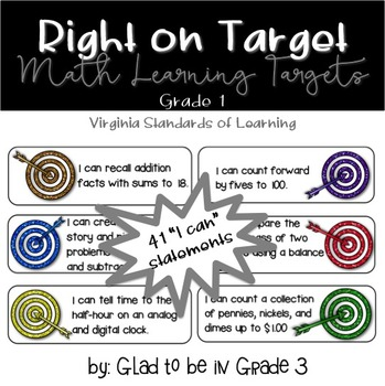 "Learning Targets: 1st Grade Math ""I Can"" Statements (Small)"