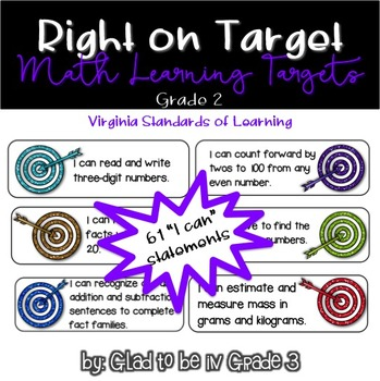 """Learning Targets: 2nd Grade Math """"I Can"""" Statements (Small)"""