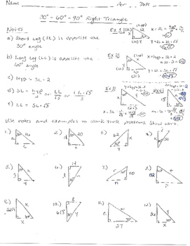 Right Triangle 30-60-90 Problems and Answer Key | TpT