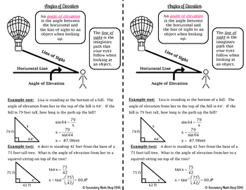 Right Triangle - Angles of Elevation & Depression Interactive Notebook Pages