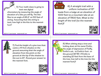 Right Triangle Applications with Task Cards QR  HW