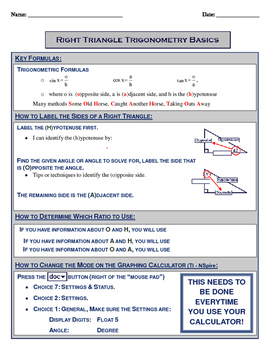 Right Triangle Basics - Notes with KEY