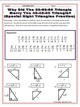 Right Triangle Concepts Riddle Worksheets BUNDLE