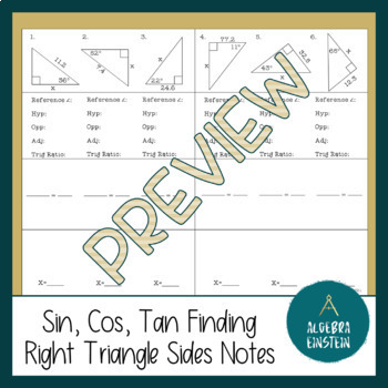 Right Triangle - Find Missing Side with Trig - Foldable Notes