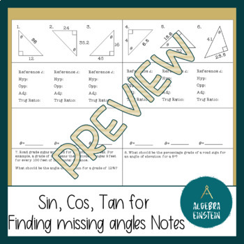 Right Triangle - Find Missing angle with Inverse Trig - Foldable Notes