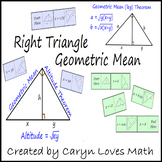 Right Triangle Geometric Mean Theorem~Domino Type Matching Activity