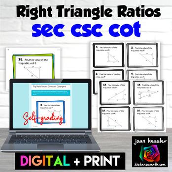 Right Triangle Ratios Secant Cosecant Cotangent Self Grading Digital Task Cards