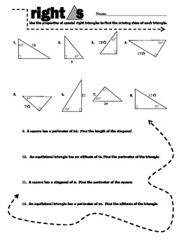 Right Triangle Review Sheet