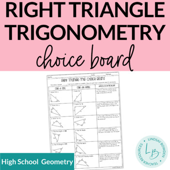 Right Triangle Trig Choice Board