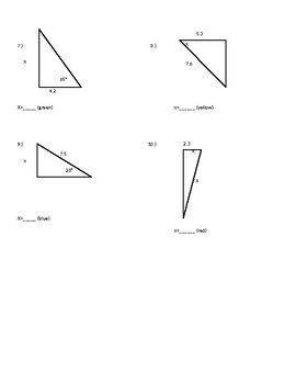 Right Triangle Trig Color by number