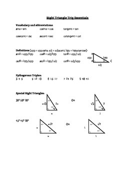 Right Triangle Trig Essentials