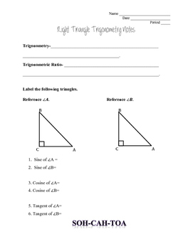 Right Triangle Trig Guided Notes