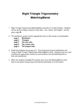 Right Triangle Trig MatchingMania