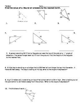 Right Triangle Trig Quiz or Worksheet