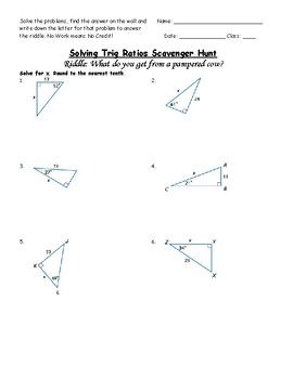Right Triangle Trig Riddle Worksheet by FlanMath | TpT