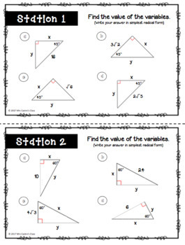 Right Triangle Trig Stations Activity