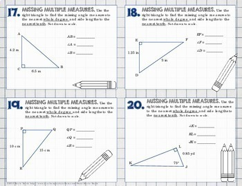 TRIGONOMETRY - Right Triangle Trig Task Cards